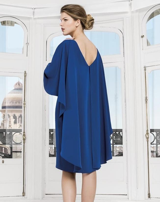 Royal Blue Dress with Cape Detail