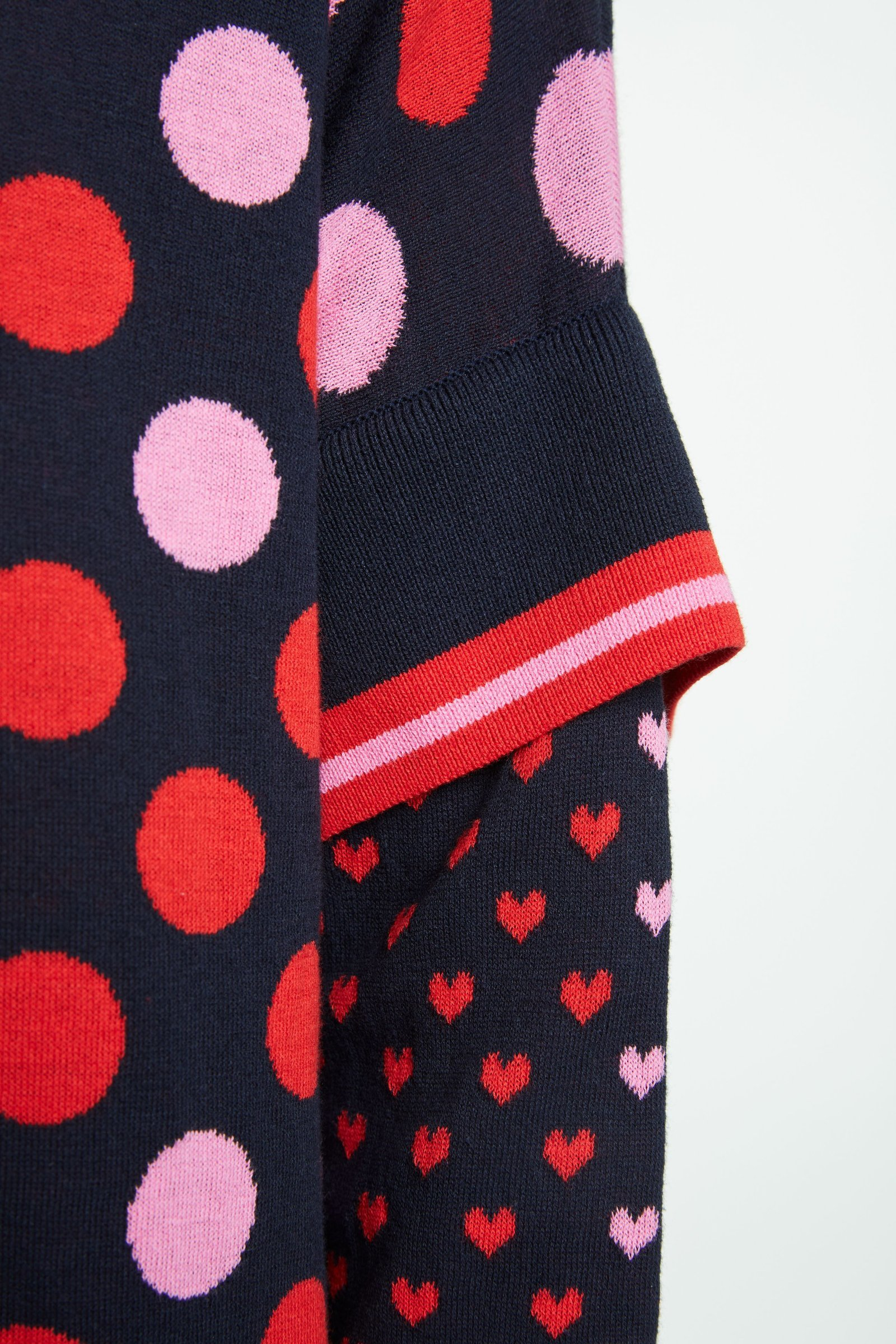 Sweater in Navy Knit with Red and Pink Polka Dots