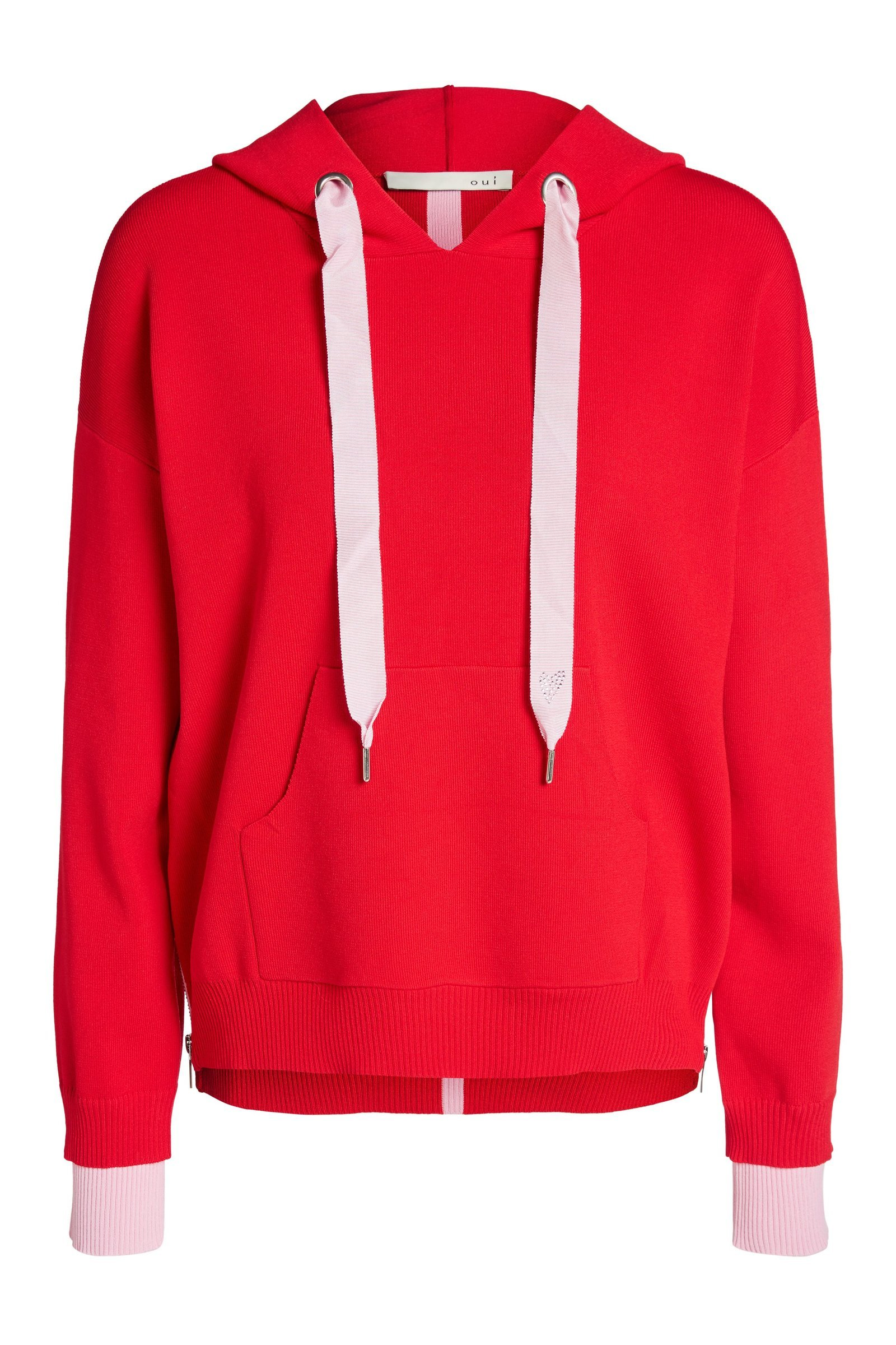 Red Knit Hooded Sweater with Pink Stripe and Ties