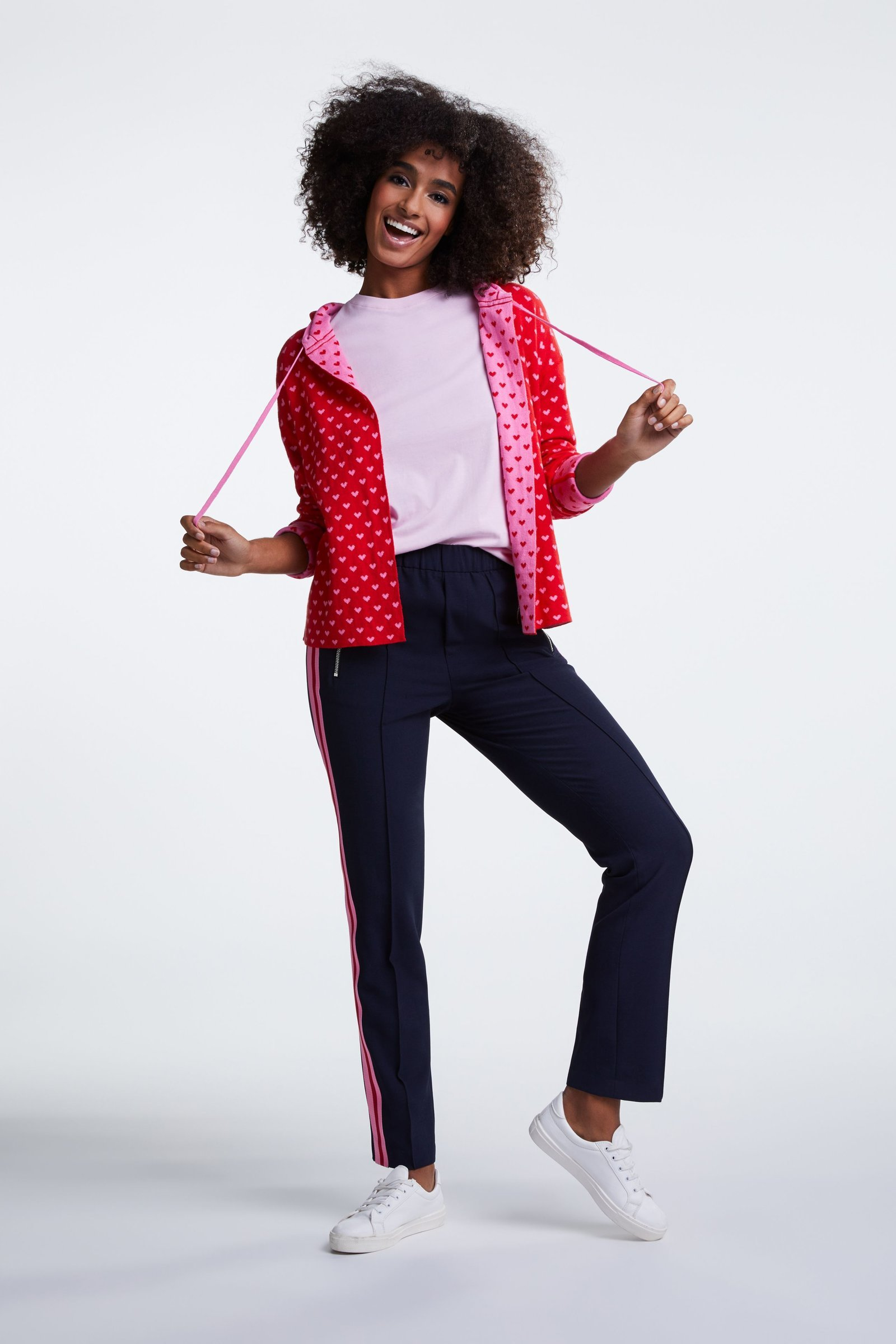 Reversible Pink and Red Knit Cardi with Hood OUI63328