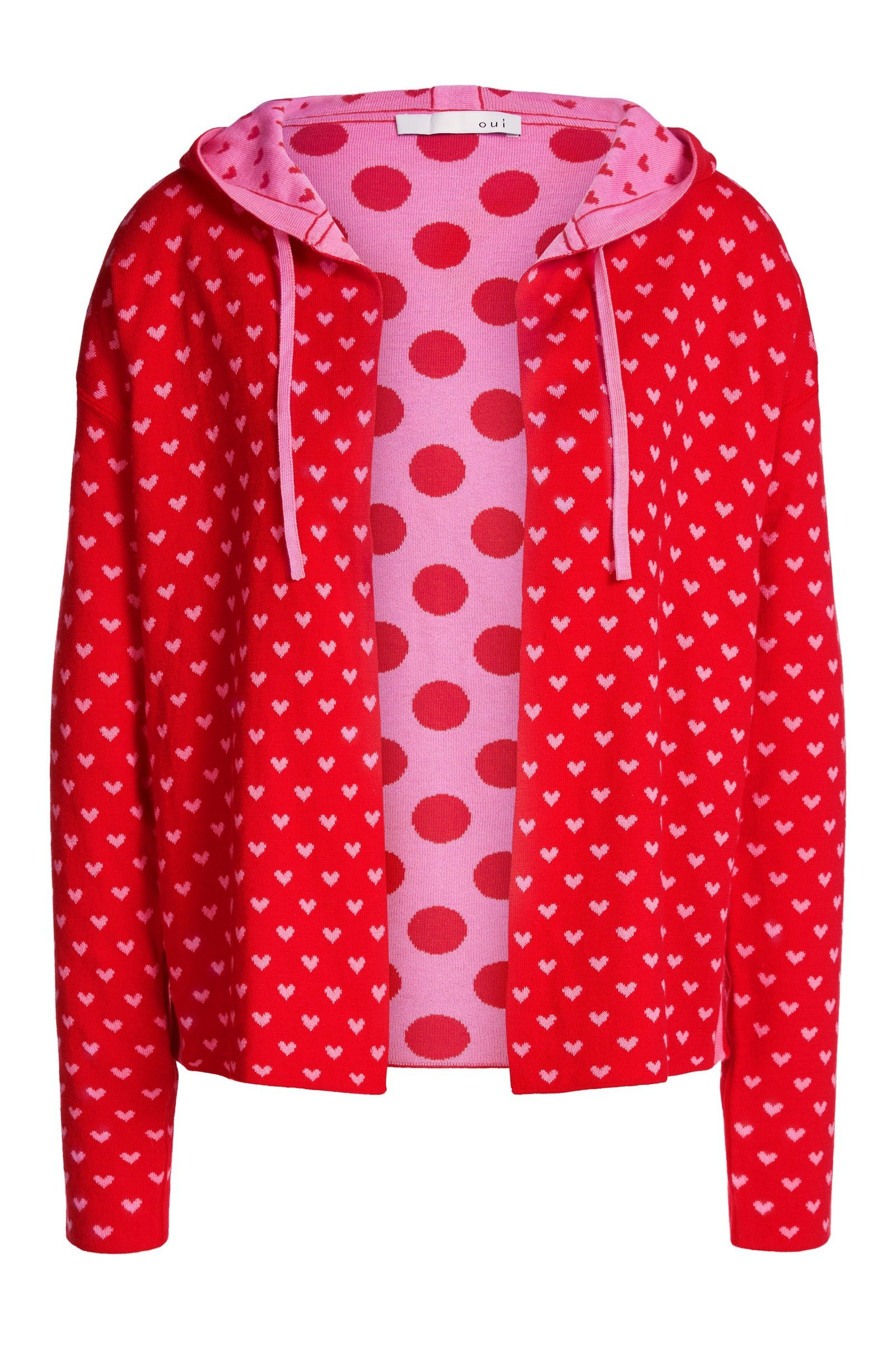 Reversible Pink and Red Knit Cardi with Hood