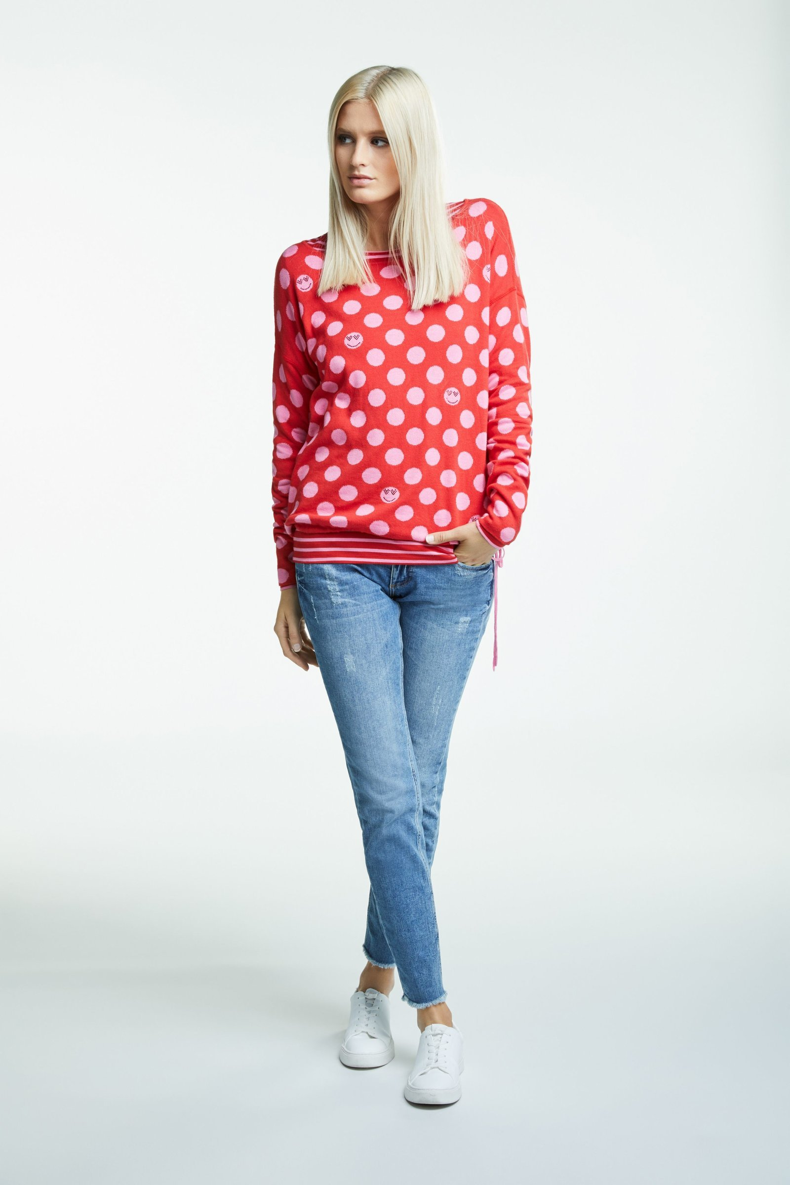 Reversible Red and Pink Polka Dot Sweater OUI65101