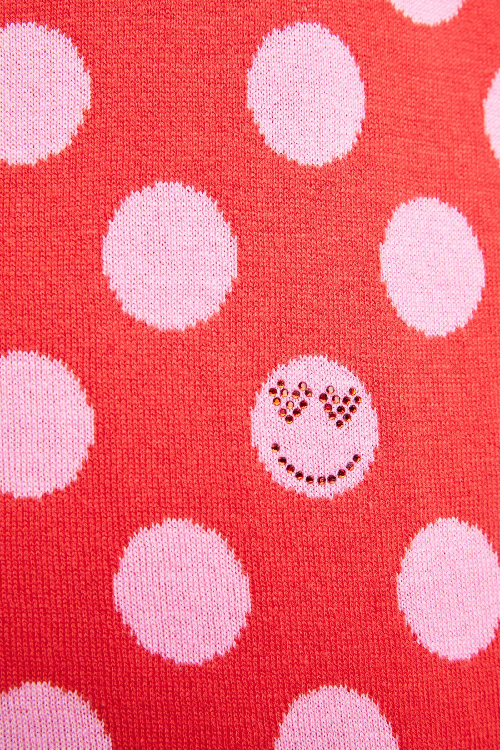 Reversible Red and Pink Polka Dot Sweater