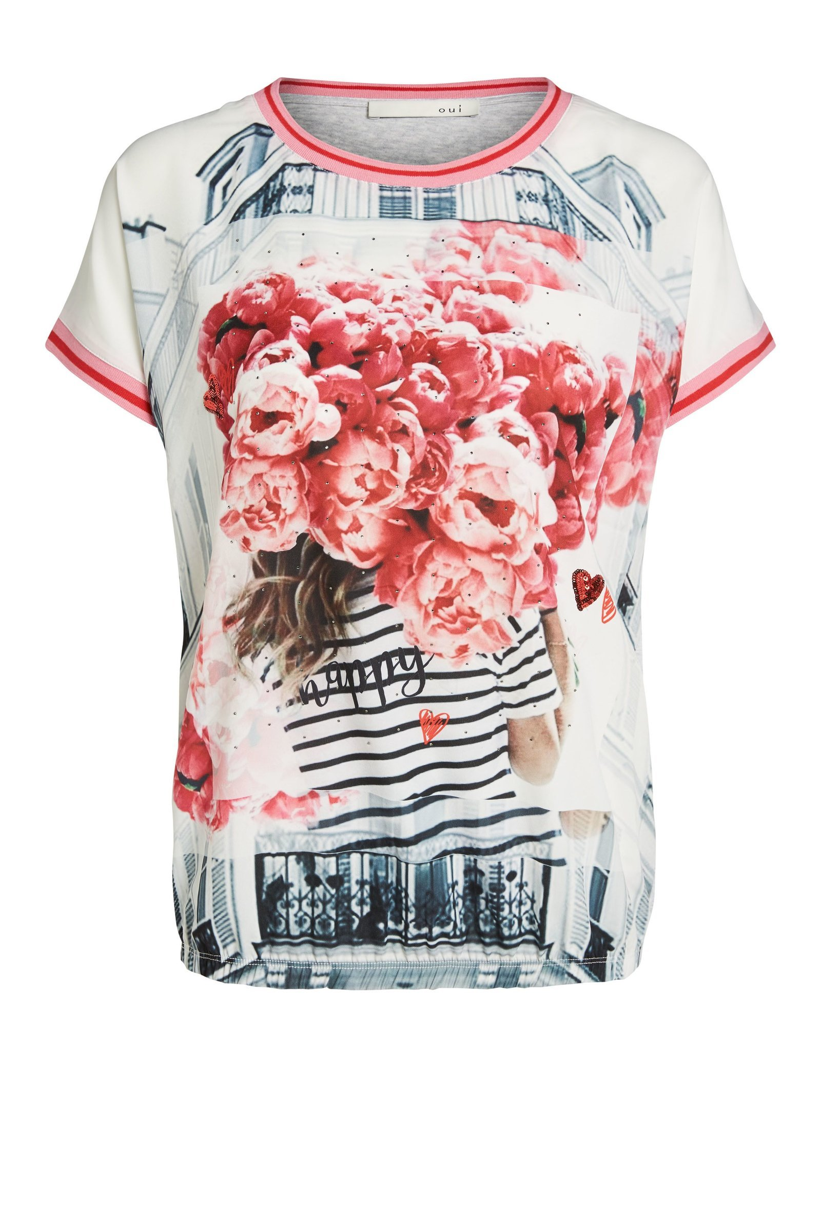Floral Tshirt with Silk-Feel Front and Cotton Back