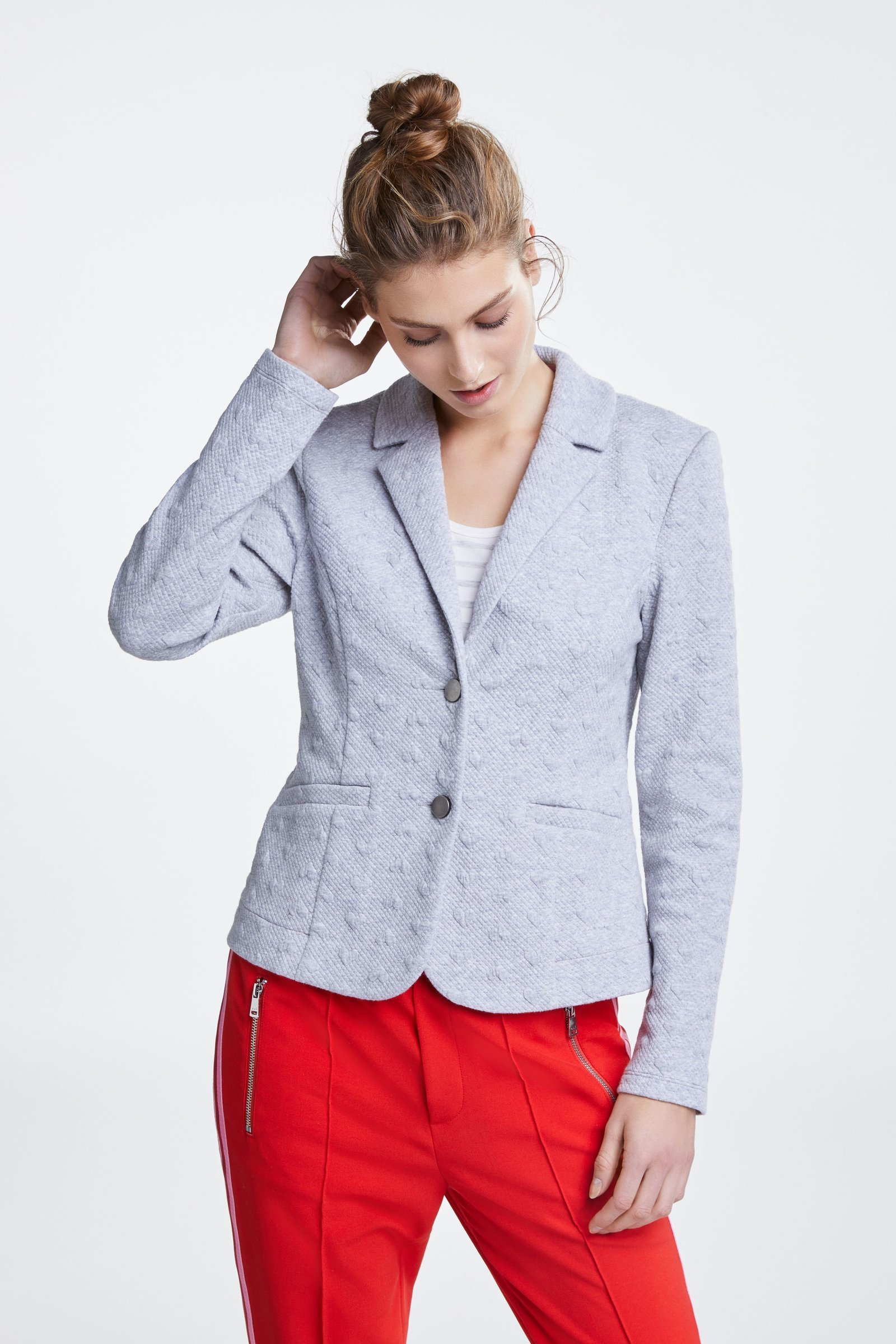 Grey Heart Embossed Soft Grey Blazer