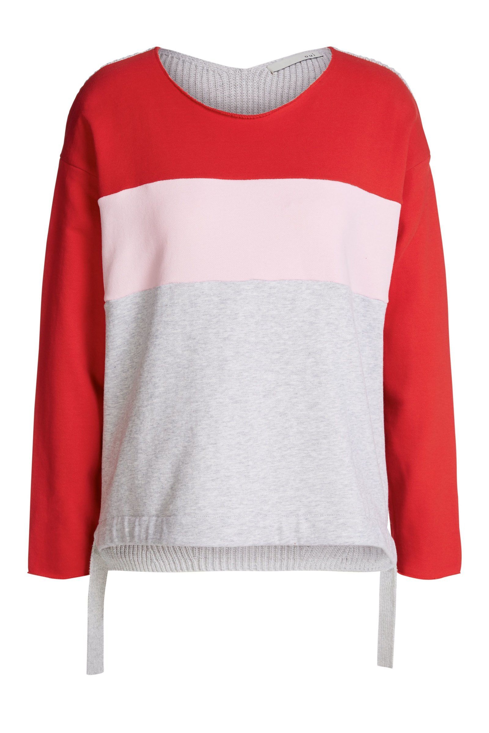 Colour Blocking Sweater with Red, Pink and Grey