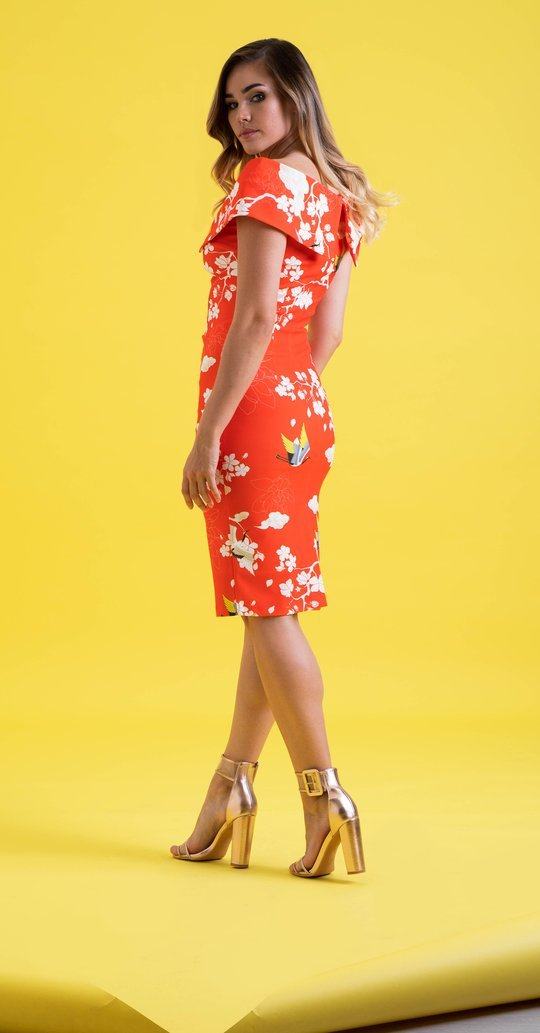 Olympia Dress is Coral Printed Colour MELDRCOR