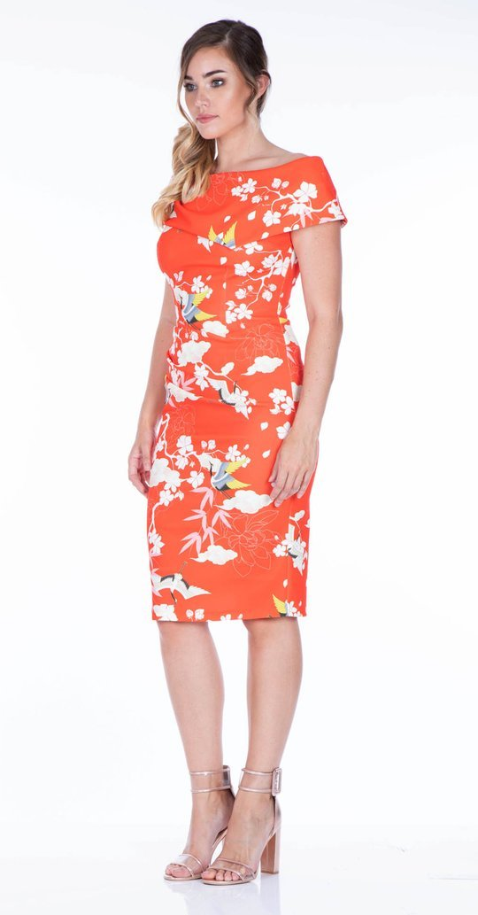 Olympia Dress is Coral Printed Colour