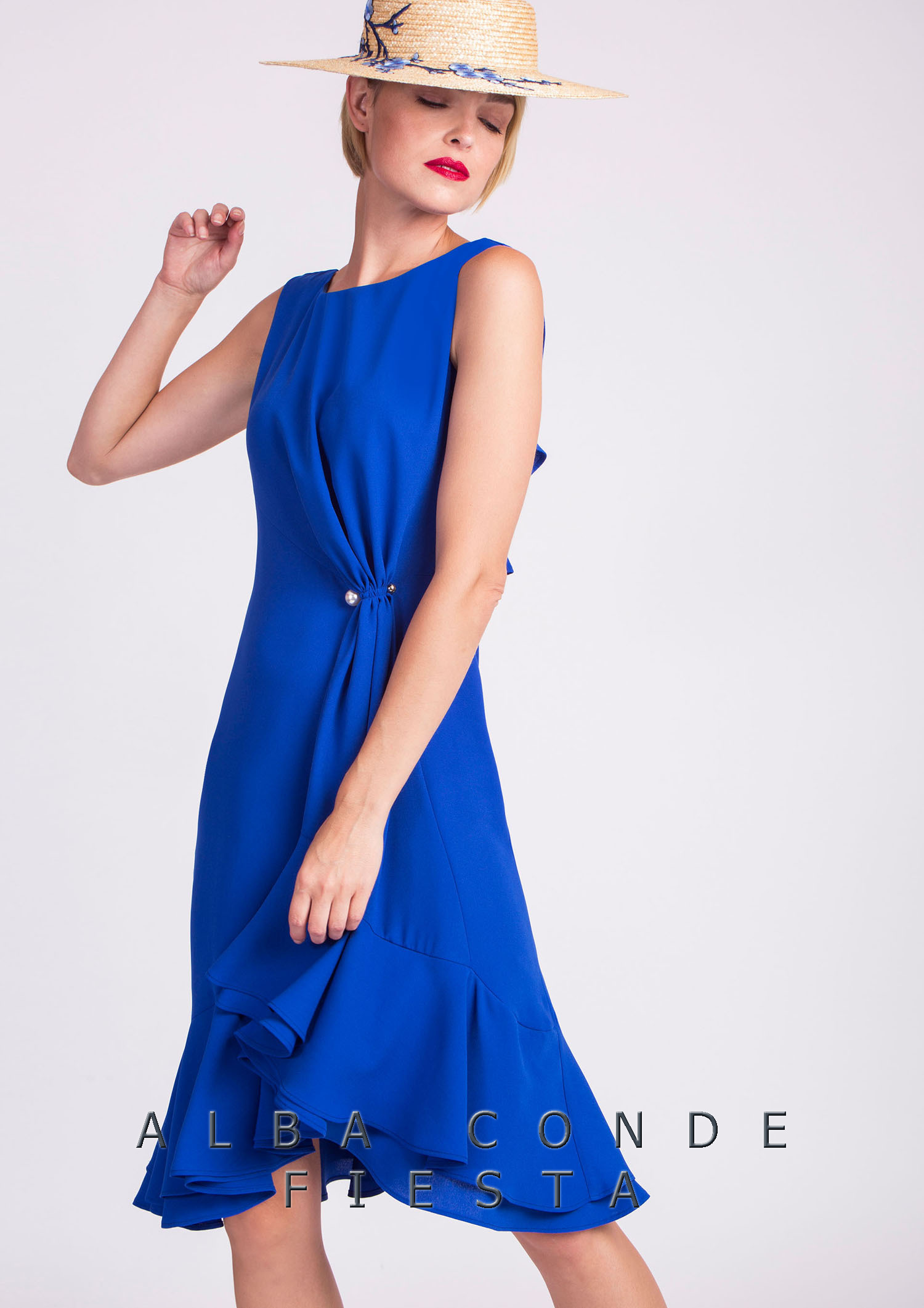 Blue Dress with Ruching at The Waist ACDR3418