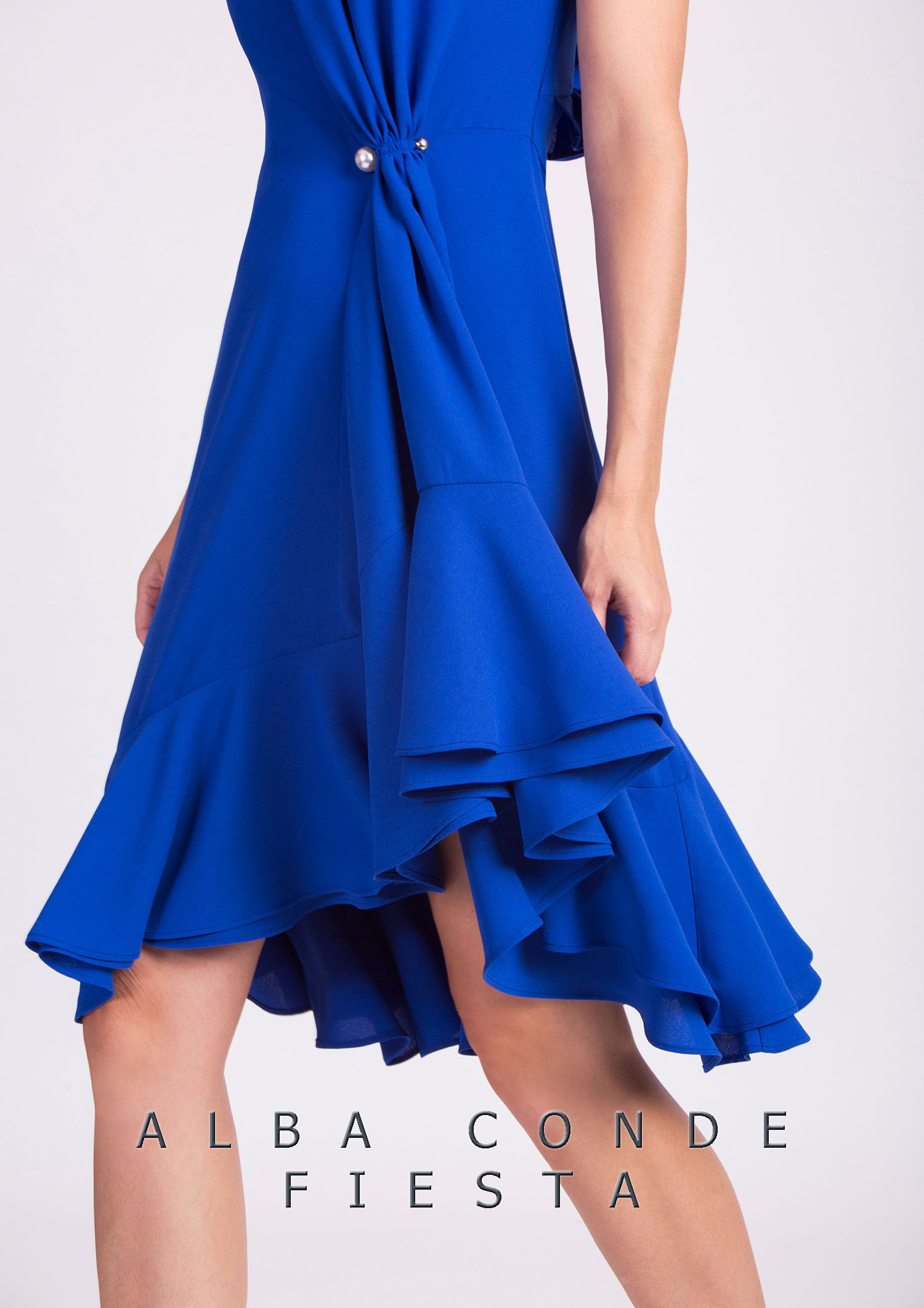 Blue Dress with Ruching at The Waist