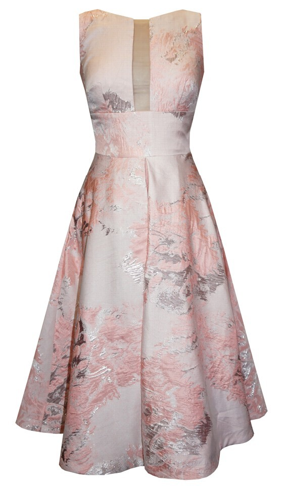 Pink, Ivory and Silver Fit and Flare Dress