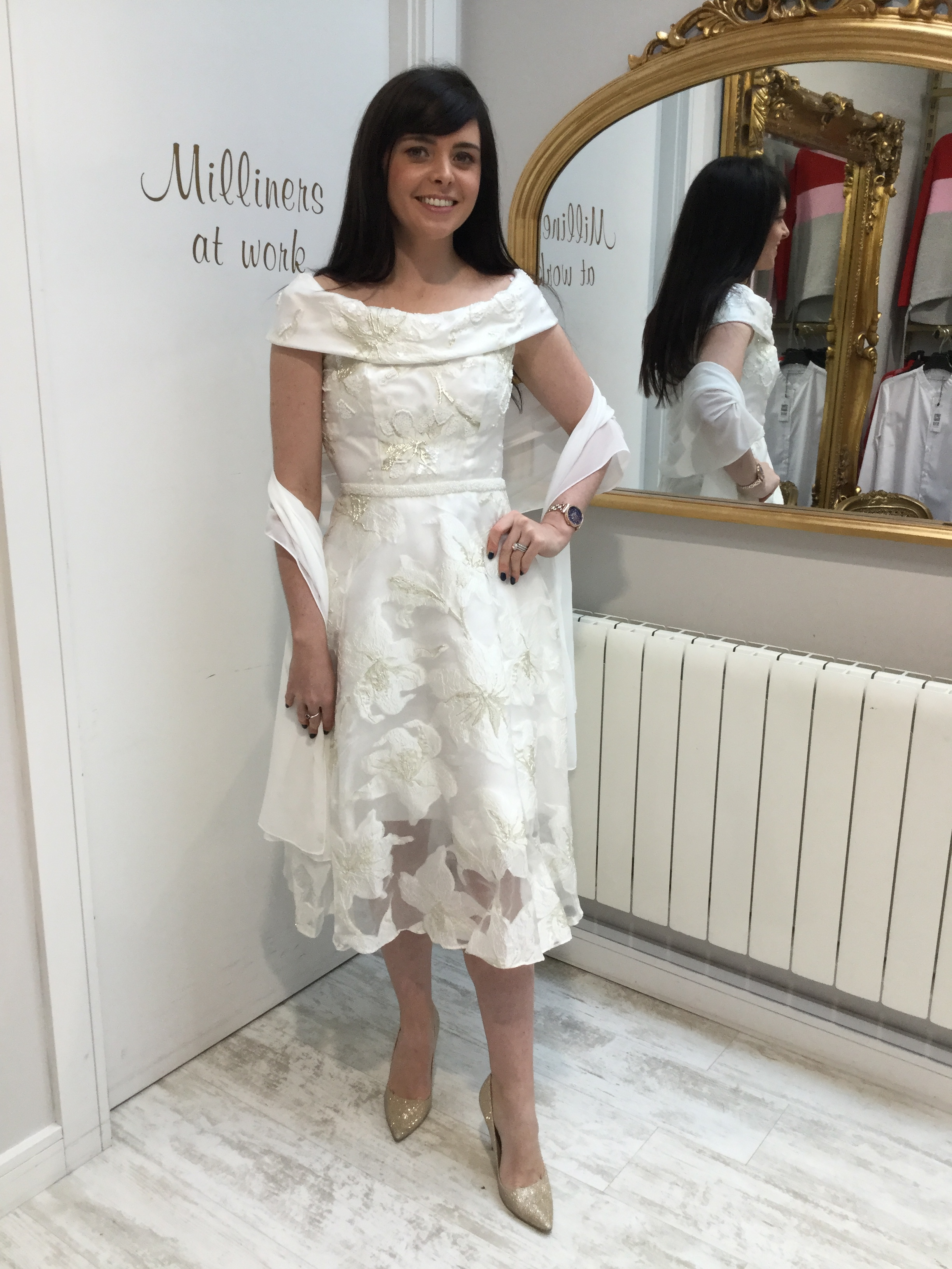Roll Collar Dress in Stunning Ivory with Beaded waist and Silver Acents CAR95444