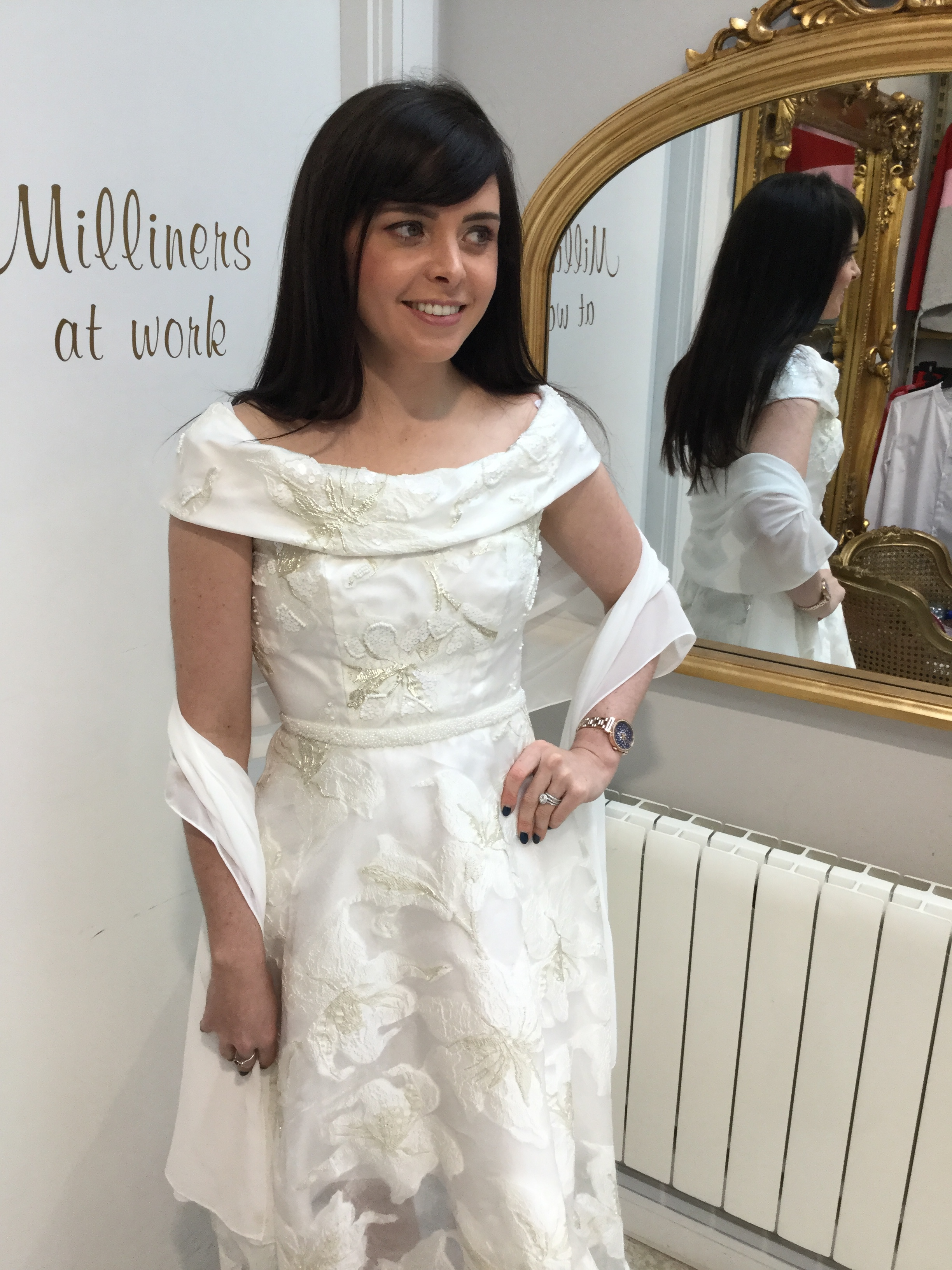 Roll Collar Dress in Stunning Ivory with Beaded waist and Silver Acents