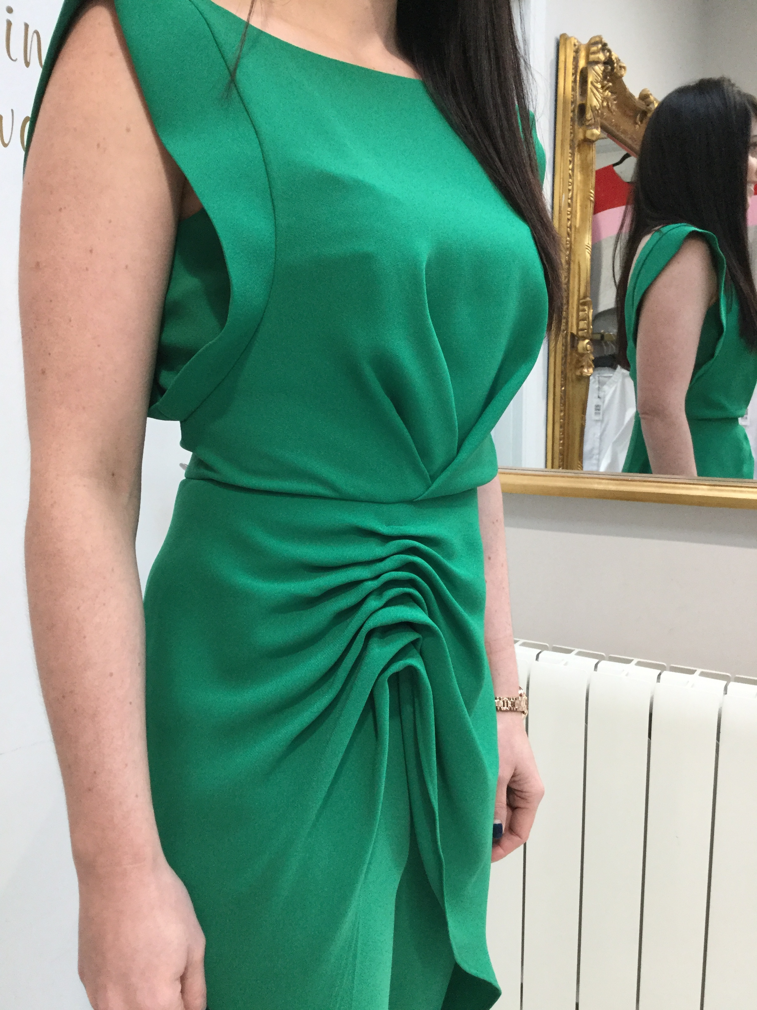 Green Tunic Top with Gather at the side