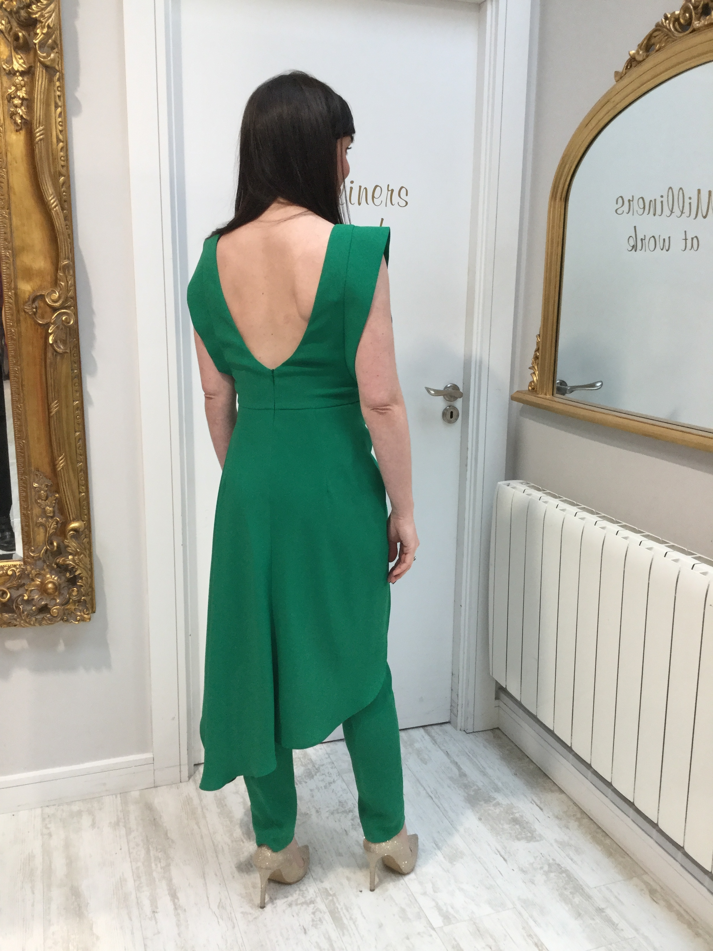 Green Crepe Trousers