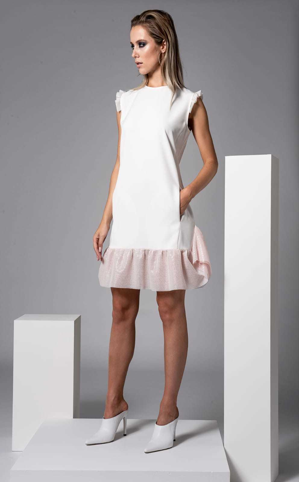 Lopez Dress in Ivory with Pink Trims CARKKSISDRLOPEZ
