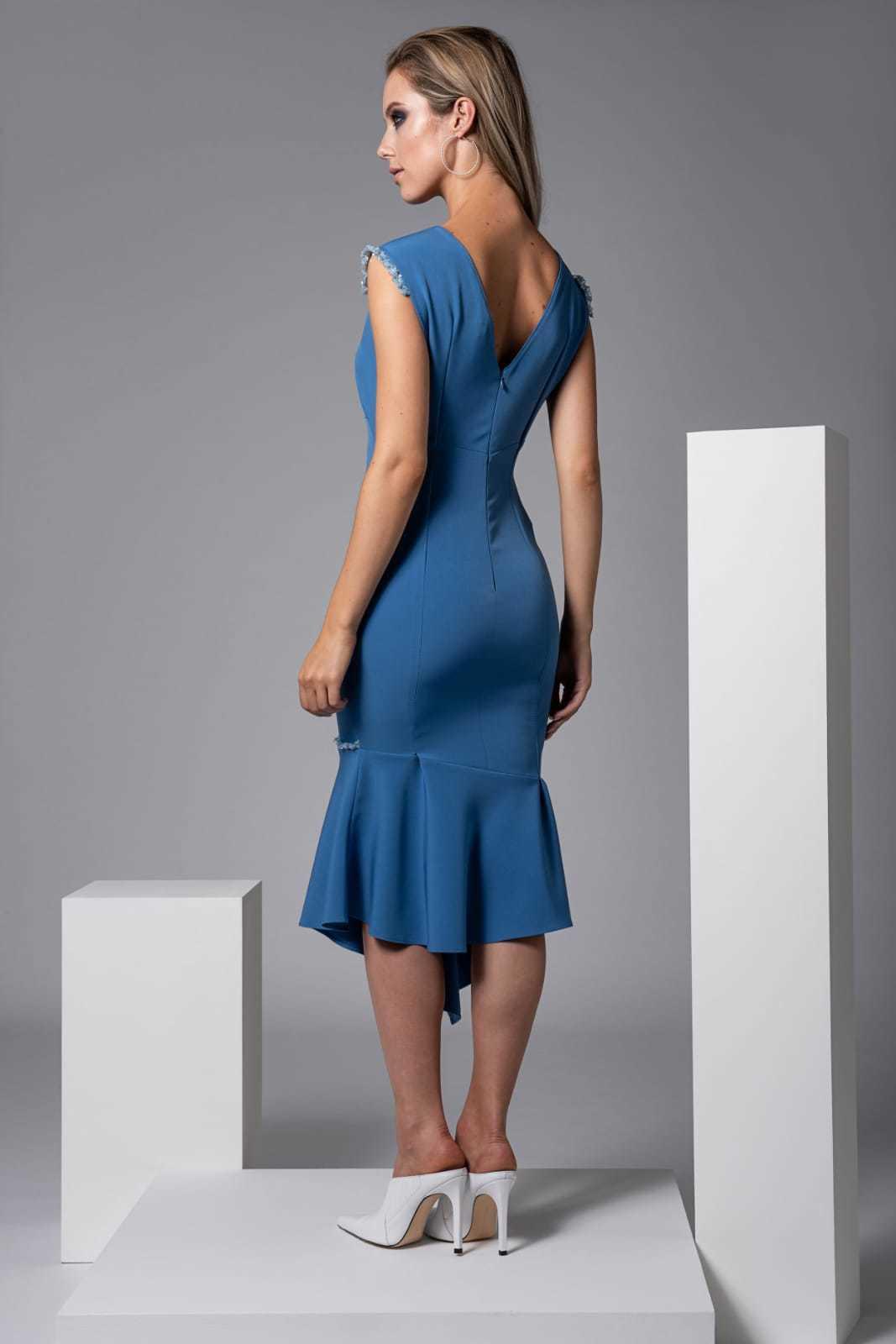 Moor Dress in Blue with Sequin trim