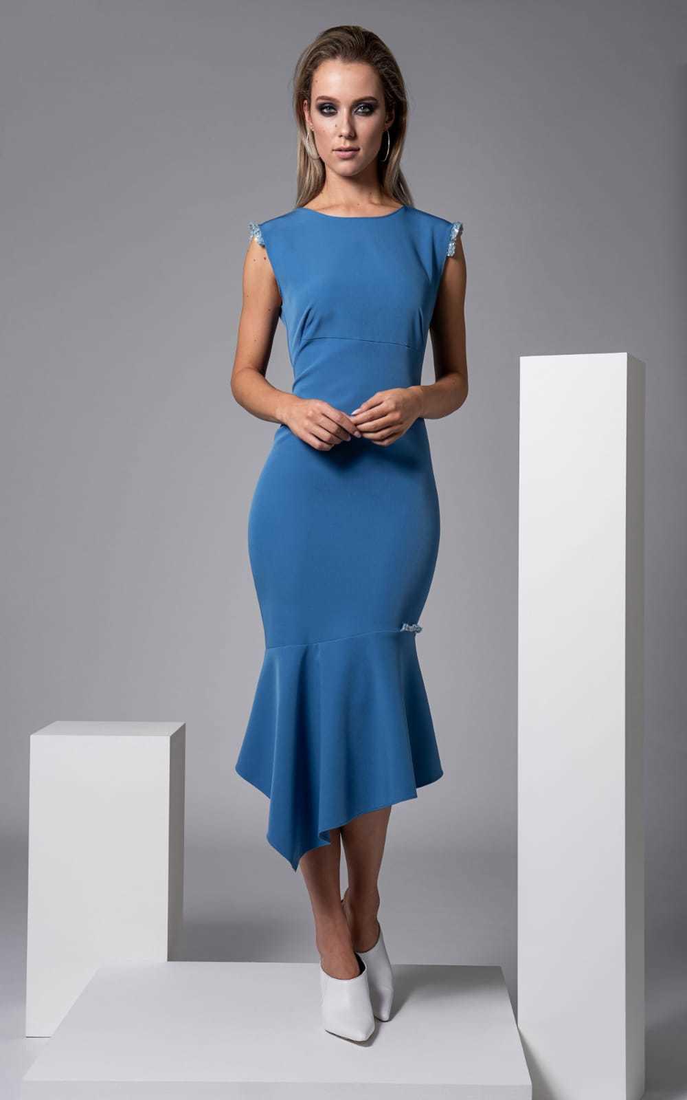 Moor Dress in Blue with Sequin trim CARKKSISMOOR