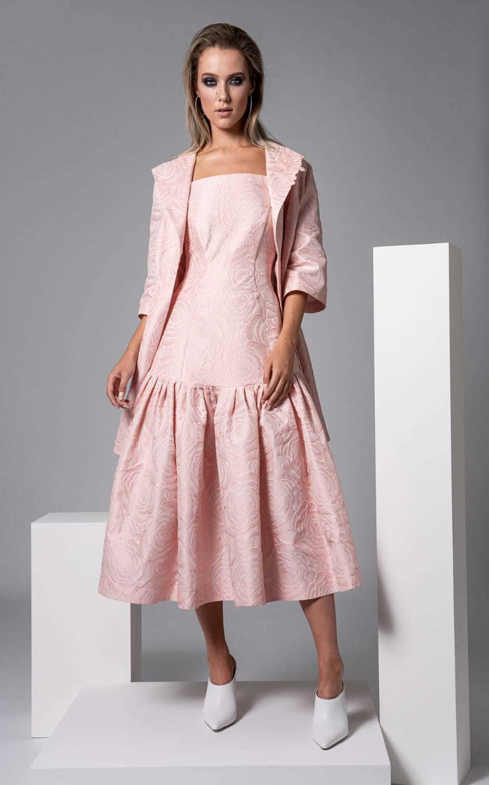 Harris Dress in Pale Pink Floral Embossed Fabric