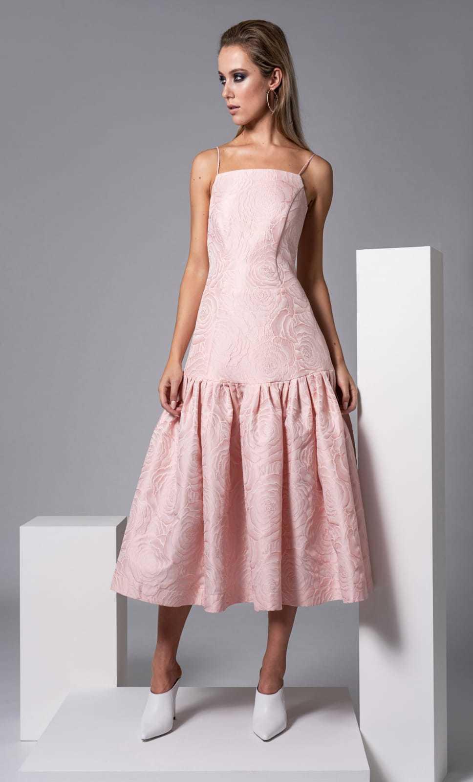 Harris Dress in Pale Pink Floral Embossed Fabric CARKKSISHARRIS