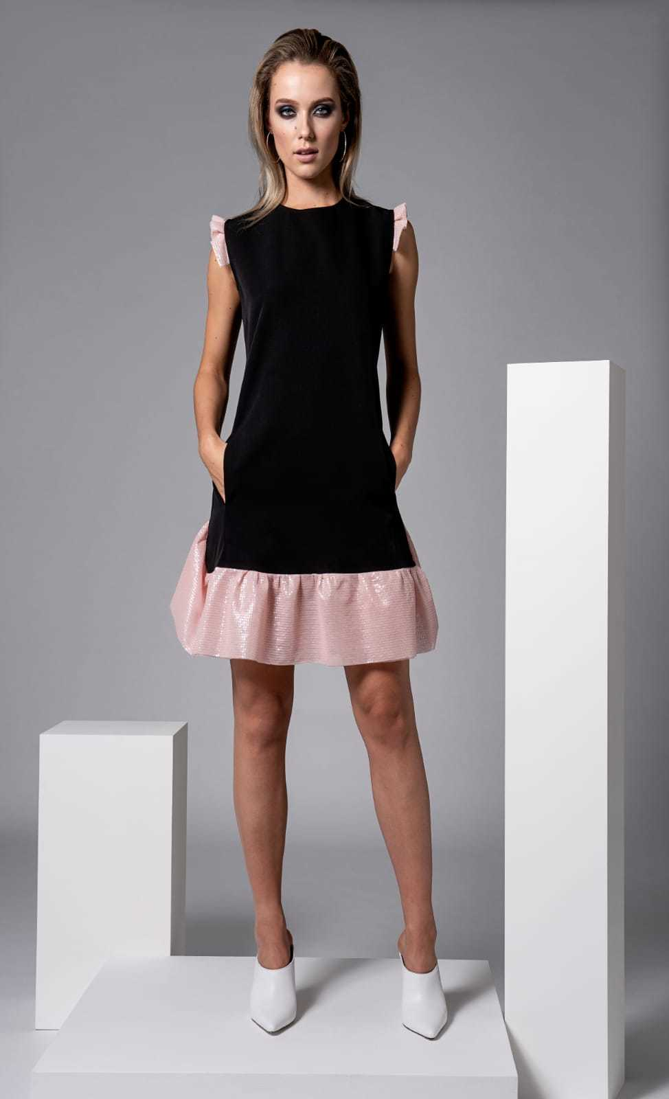 Lopez Dress in Black with Pale Pink Trims CARKKSISLOPEZ