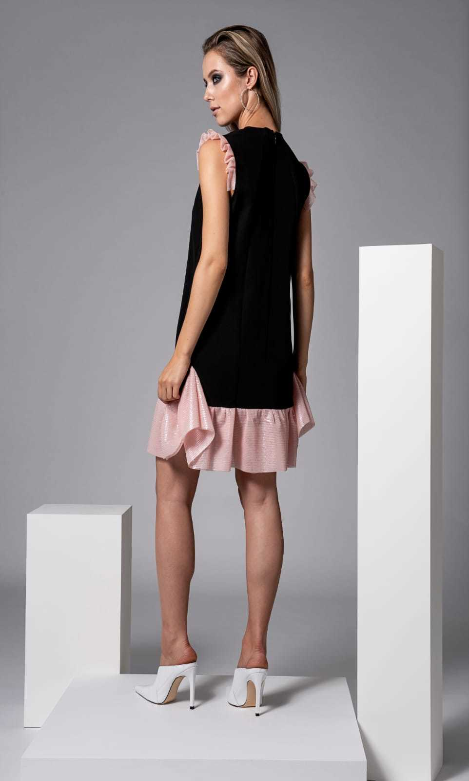 Lopez Dress in Black with Pale Pink Trims