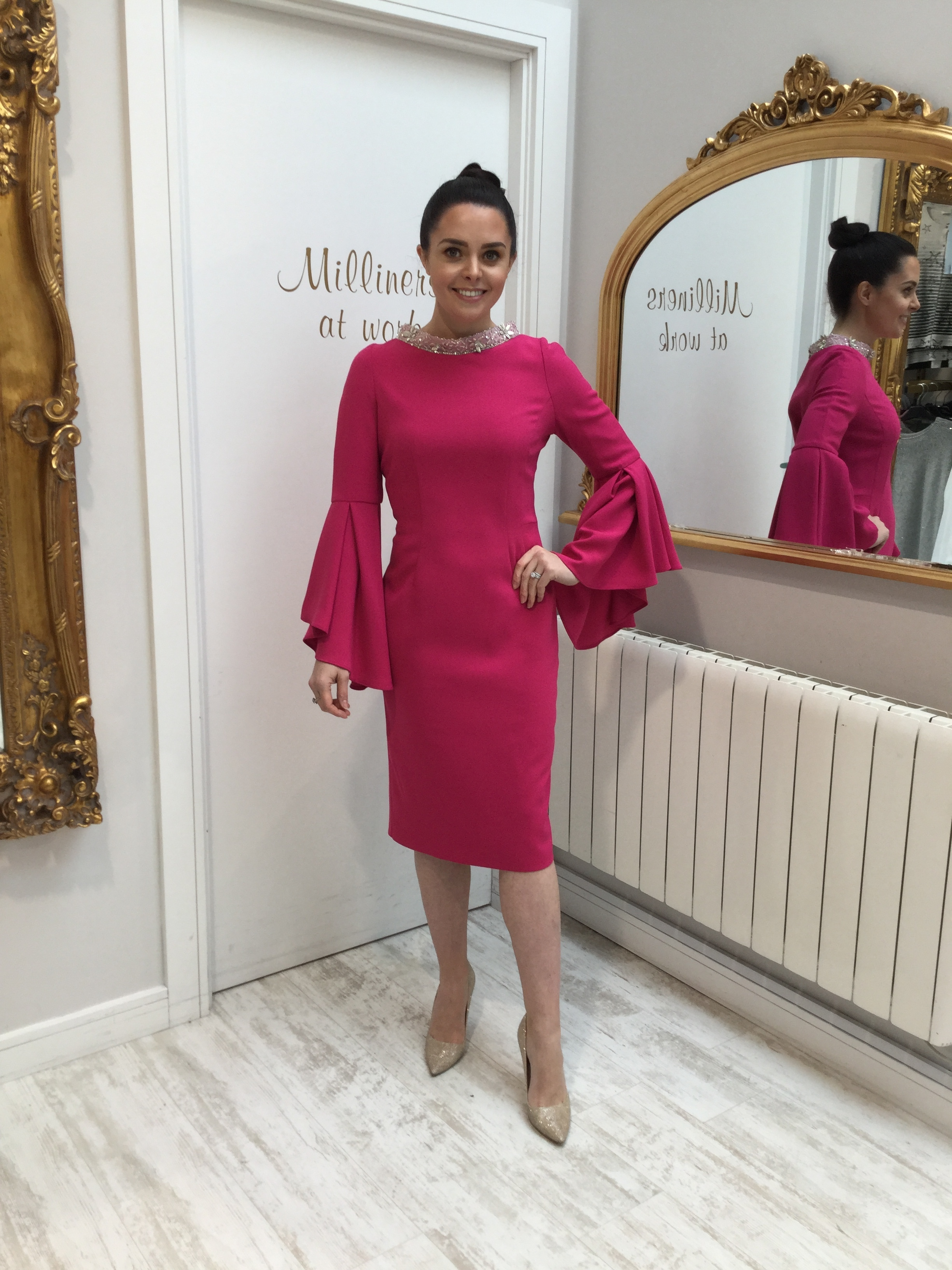 Pink Dress with Fluted Sleeves and Embellished Neckline CARPKDRSALE