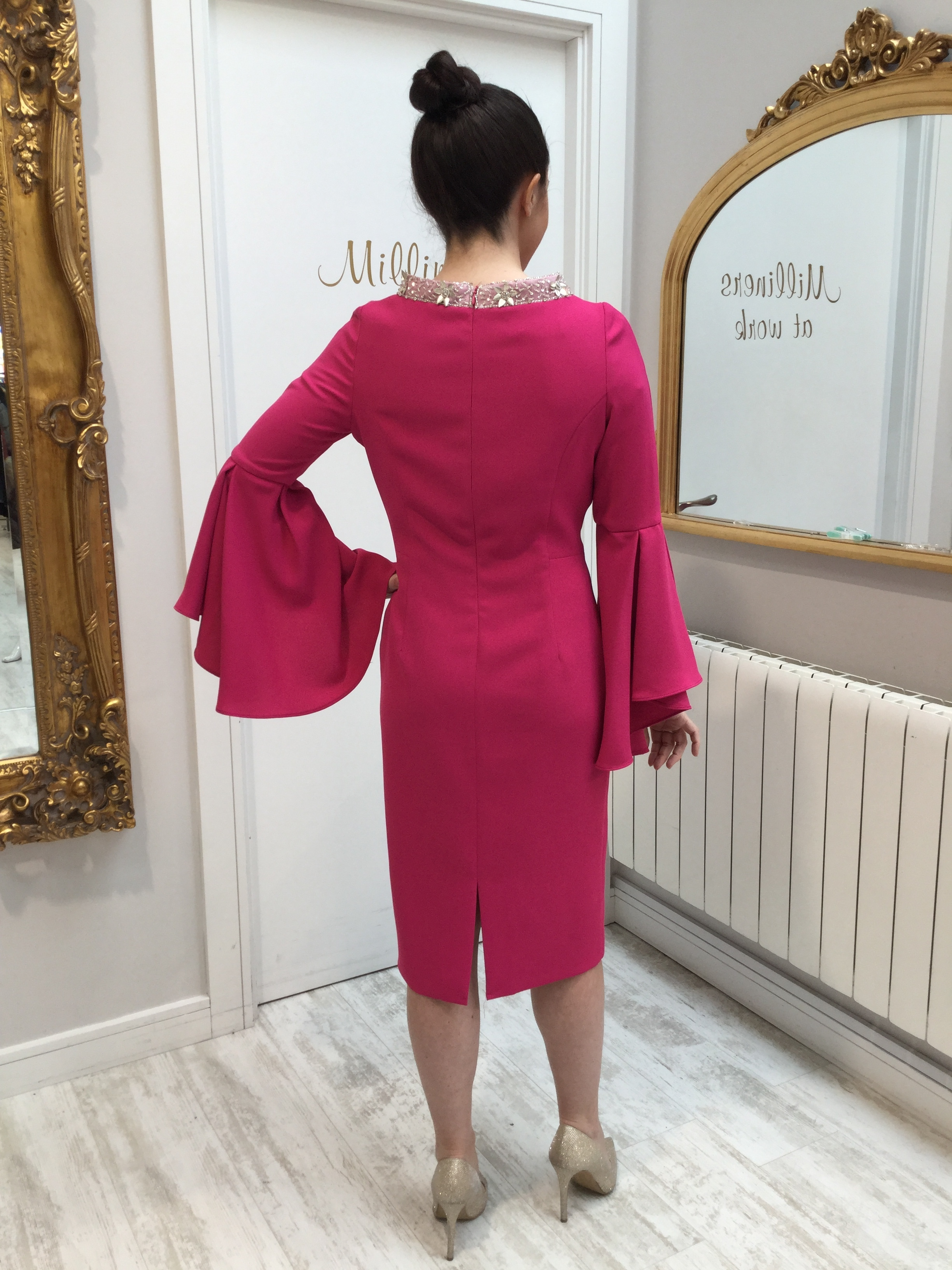 Pink Dress with Fluted Sleeves and Embellished Neckline