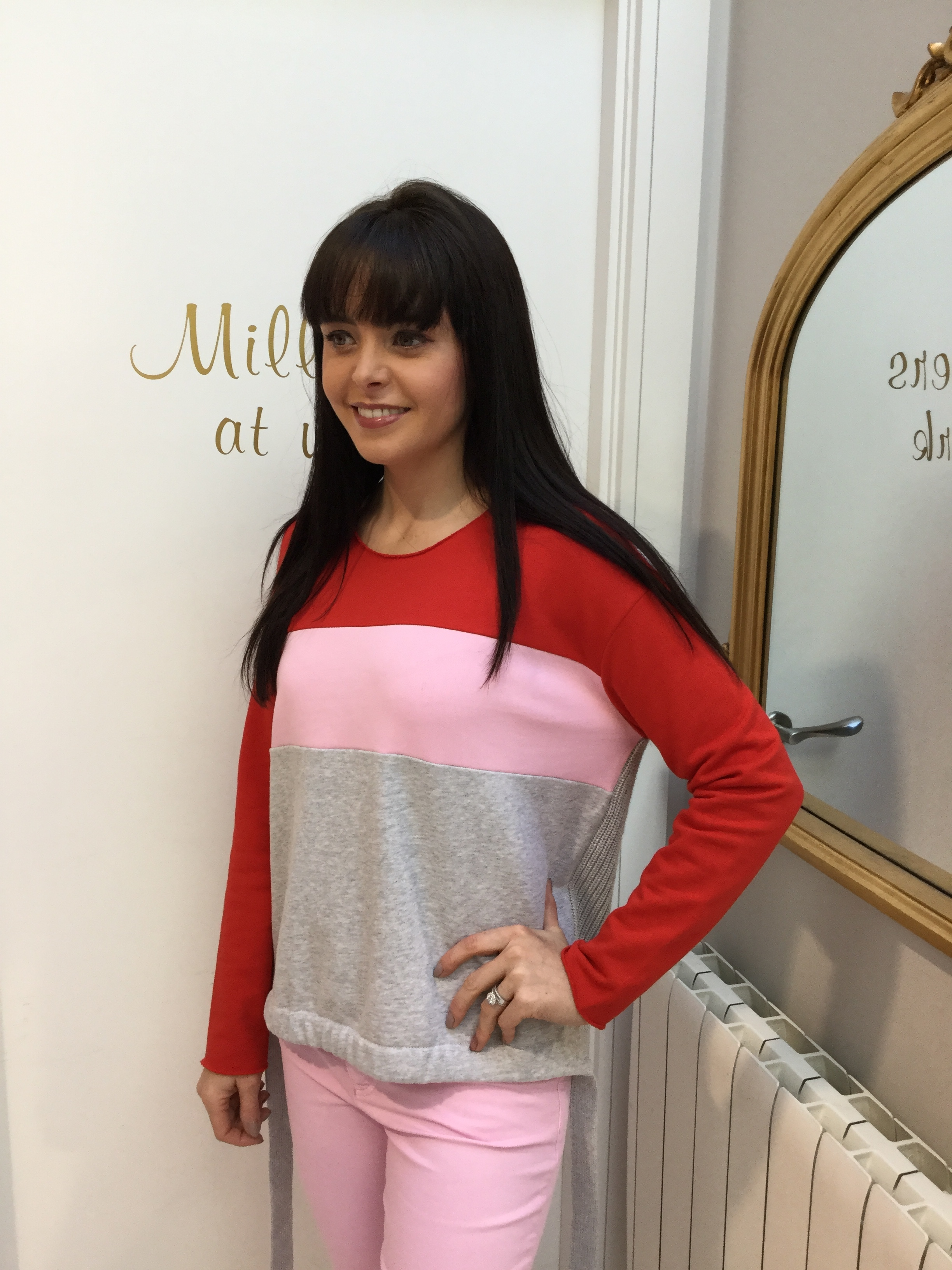 Colour Blocking Sweater with Red, Pink and Grey OUI62745