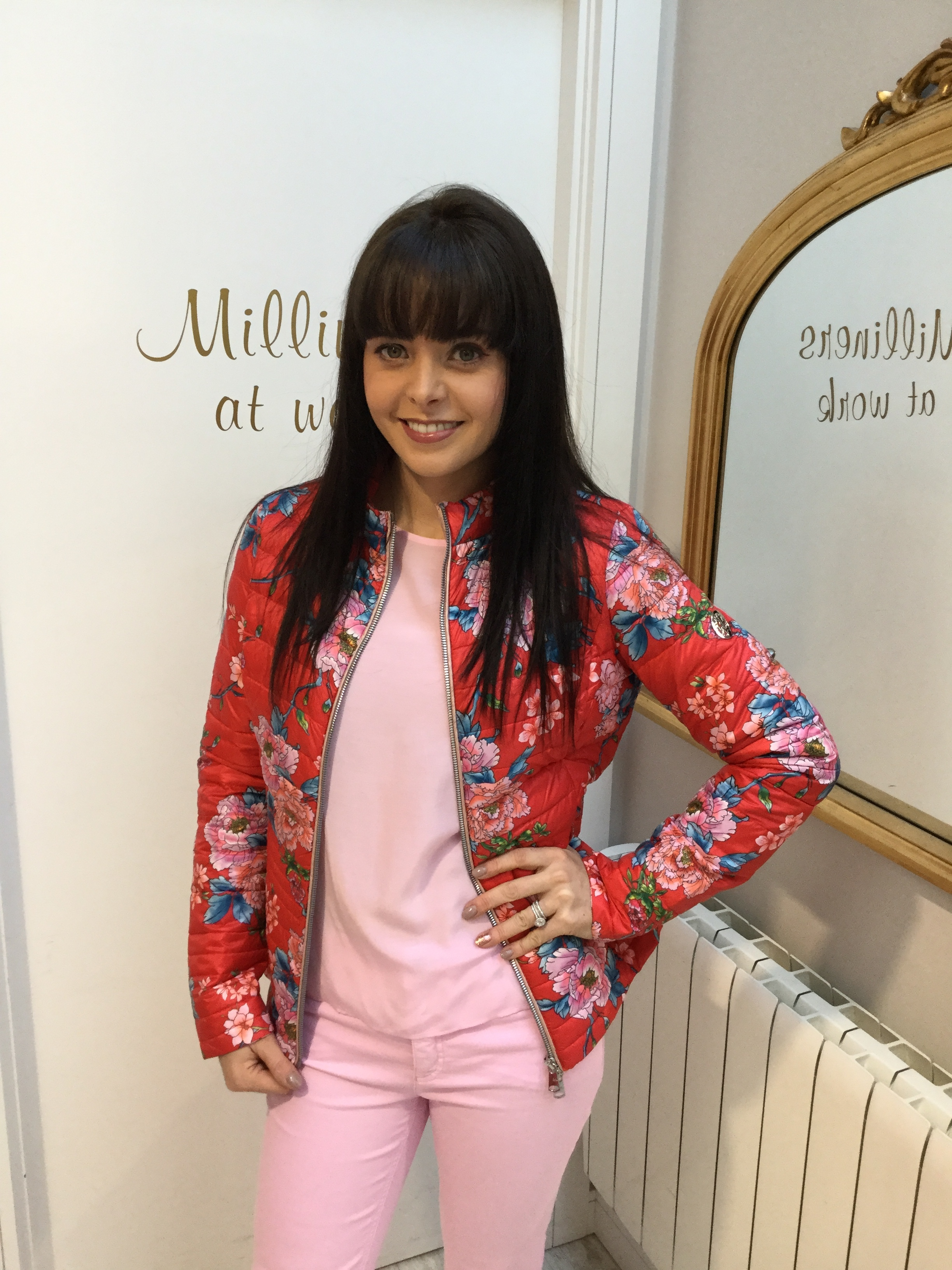 Floral Puffa Jacket with Red, Pink and Blue