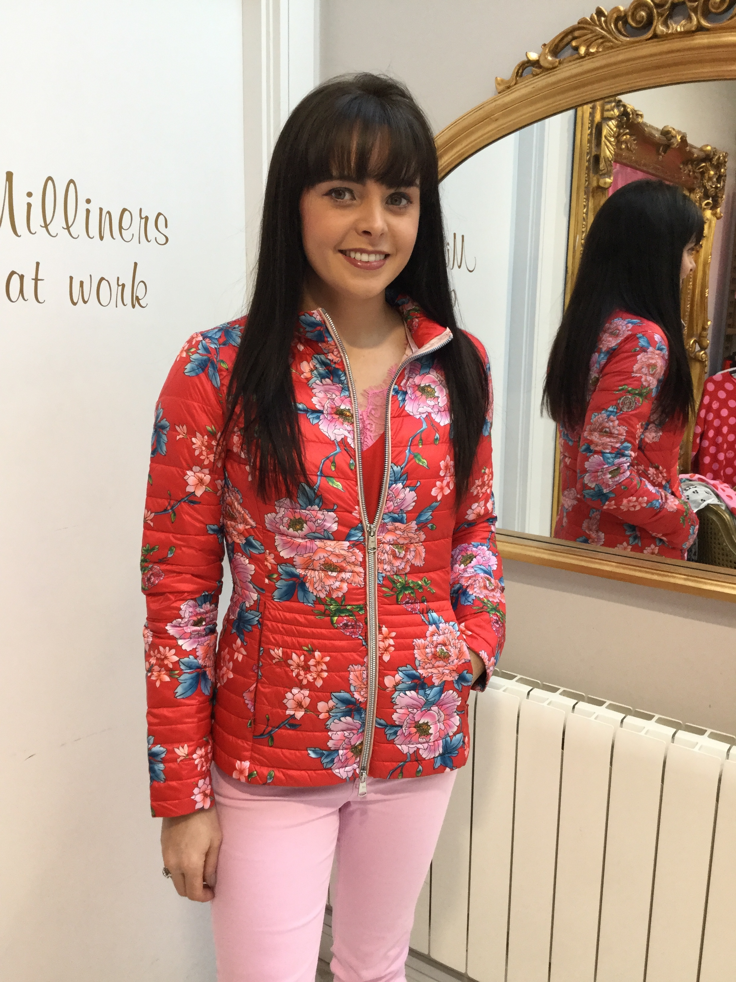Floral Puffa Jacket with Red, Pink and Blue BEAU191FLORAL