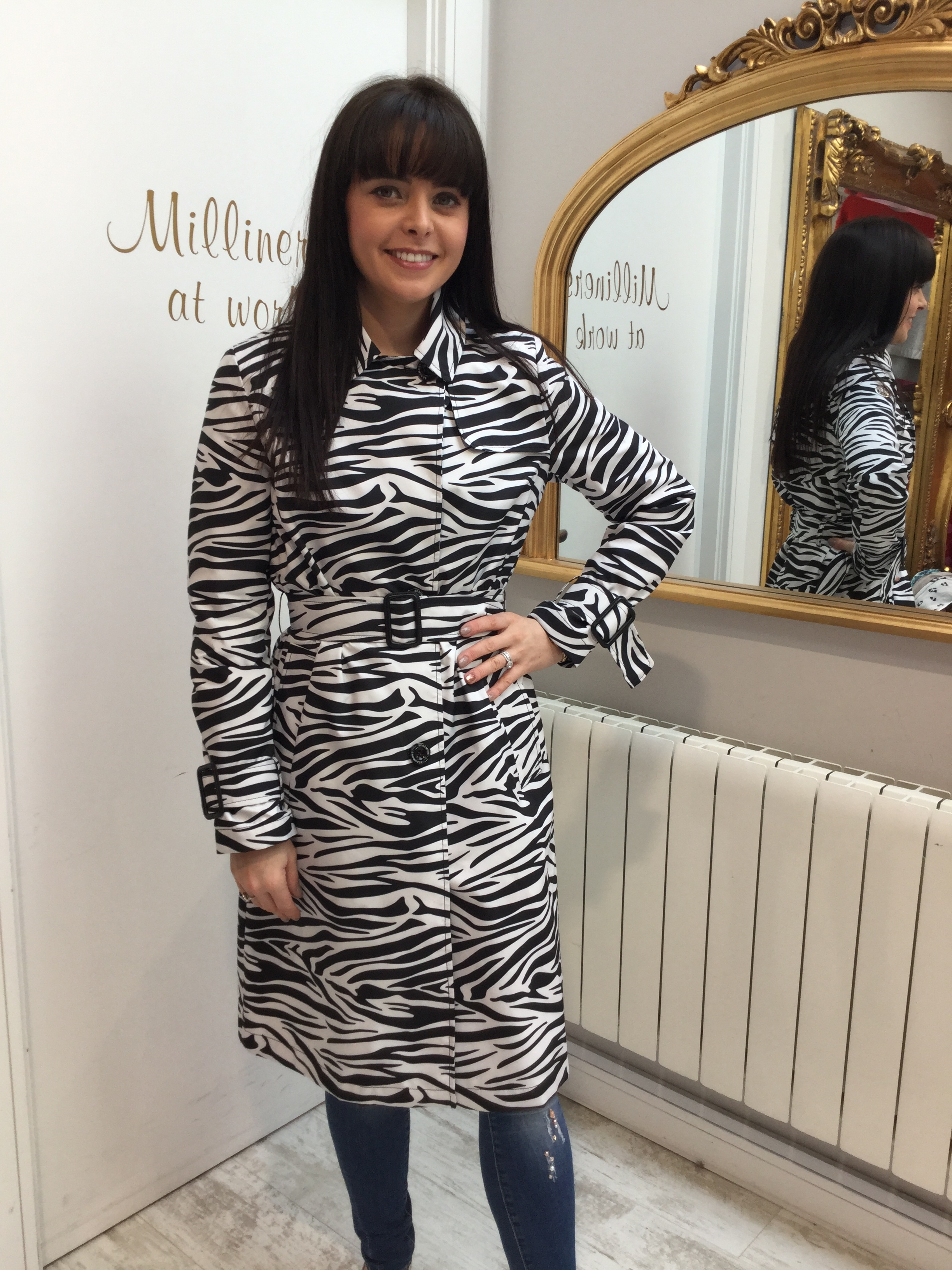 Zebra Print Rain Jacket with Belt