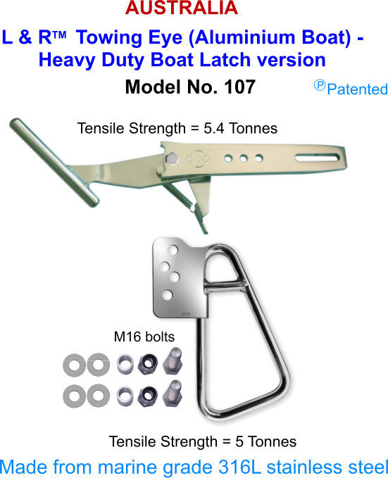 L & R  Towing Eye (Aluminium Boat) - Heavy Duty Boat Latch version FOR boats over 21 ft (6.5M)
