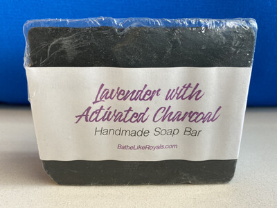 Lavender with Activated Charcoal Soap Bar - 5oz - ALL NATURAL & VEGAN - 85% Organic Ingredients