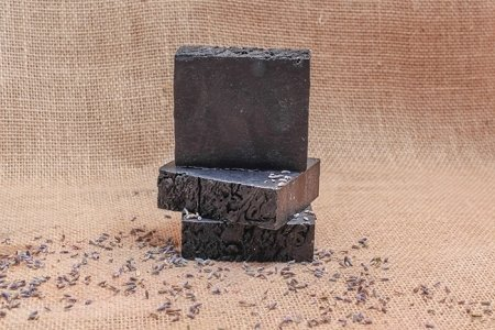 Lavender with Activated Charcoal Soap Bar - 5oz - ALL NATURAL & VEGAN - 85% Organic Ingredients NSW-LAC-S