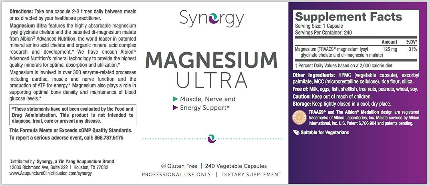 Synergy - Magnesium Ultra - 240 Vegetable Capsules - Muscle, Nerve and Energy Support