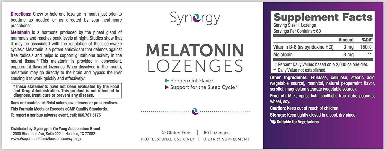 Synergy - Melatonin 3 mg - 60 Lozenges