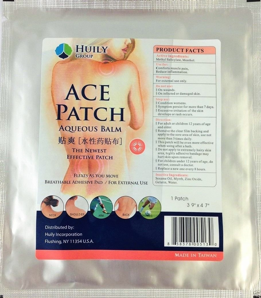 New Ace Patch Aqueous Balm (Previously Known As Pain Goodbye Patch) - 10 Pack 00172