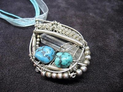 Sterling Silver Custom wire wrapped quartz crystal and turquoise pendant