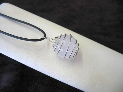20mm Quartz crystal sphere necklace in wire cage, caged quartz pendant