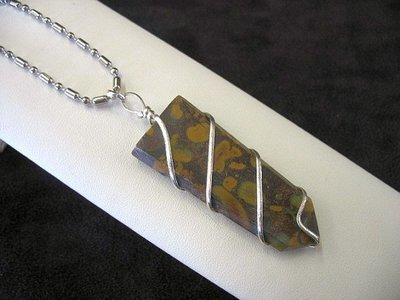 Fossil Jasper pendant necklace wire wrapped, jasper pendant, jasper necklace
