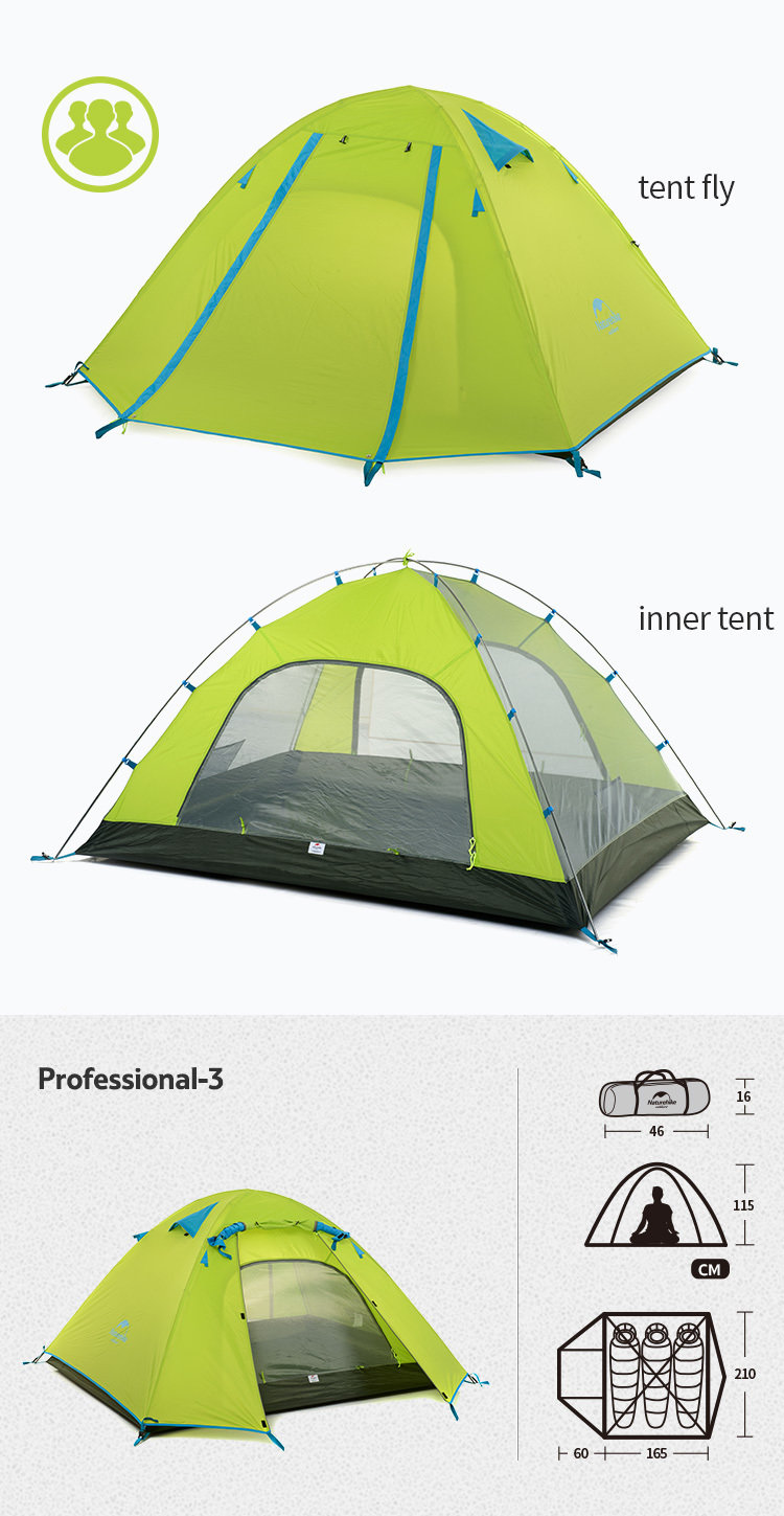 Naturehike P Series 3 Person Backpacking Tent, 3 Season c/w footprint Green