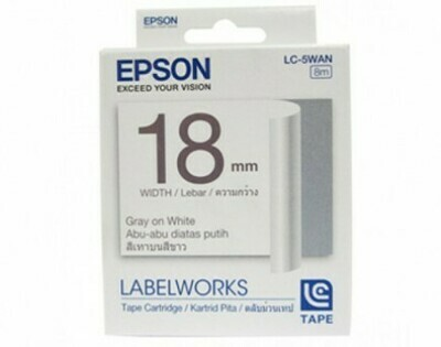 Epson Label & Tape LC-5WAN - 18mm Gray on White Tape