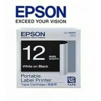 Epson Label & Tape LC-4BWV - 12mm White on Black Tape