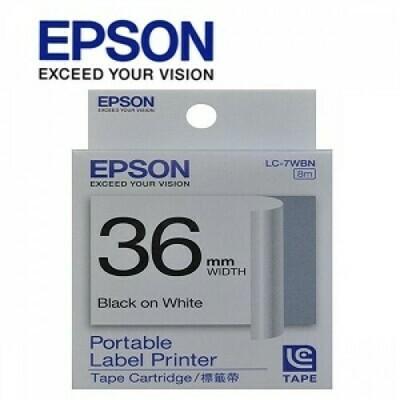 Epson Label & Tape LC-7WBN - 36mm Black on White Tape