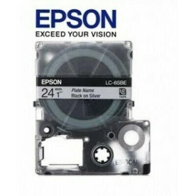 Epson Label & Tape LC-6SBE - 24mm Black on Matt Silver Tape