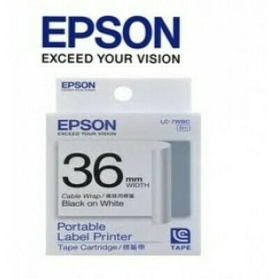 Epson Label & Tape LC-7WBC -36mm Black on 1/3Wte,2/3ClrTape - Cable Wrap