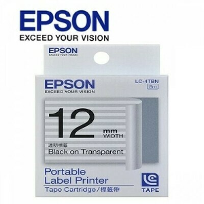 Epson Label & Tape LC-4TBN - 12mm Black on Transparent Tape