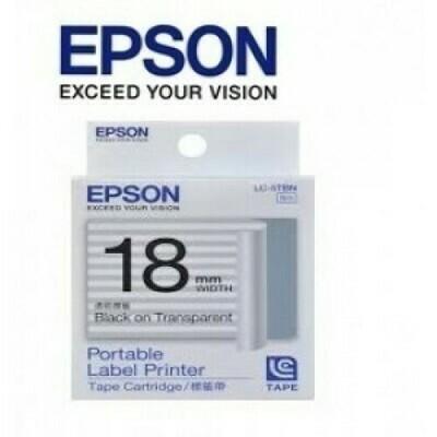 Epson Label & Tape LC-5TBN - 18mm Black on Transparent Tape