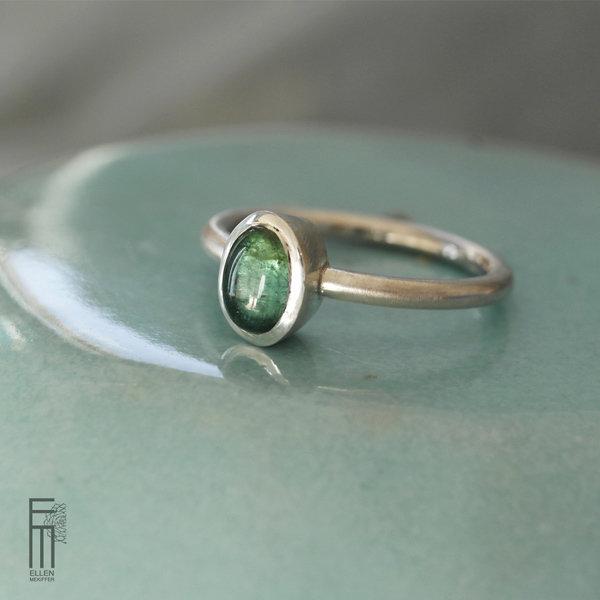 TURMALINA VERDE - Silberring mit grünen Turmalin - anillo de plata con turmalina verde anillo - plata turmalina verde